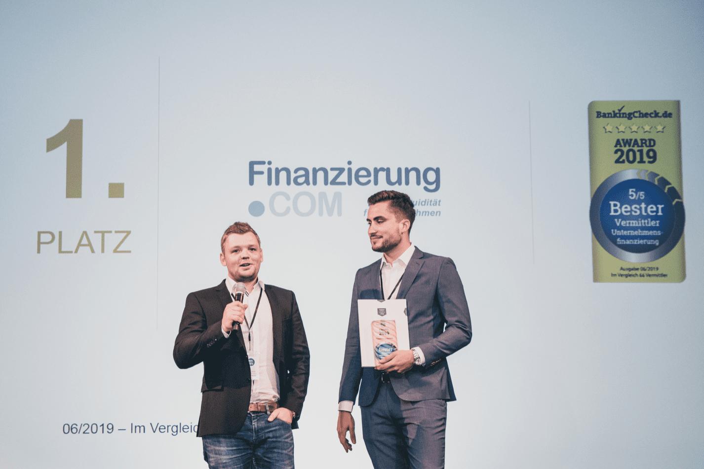 BankingCheck und eKomi Award 2019: FInanzierung.com zum besten Vermittler für Unternehmensfinanzierungen gekürt